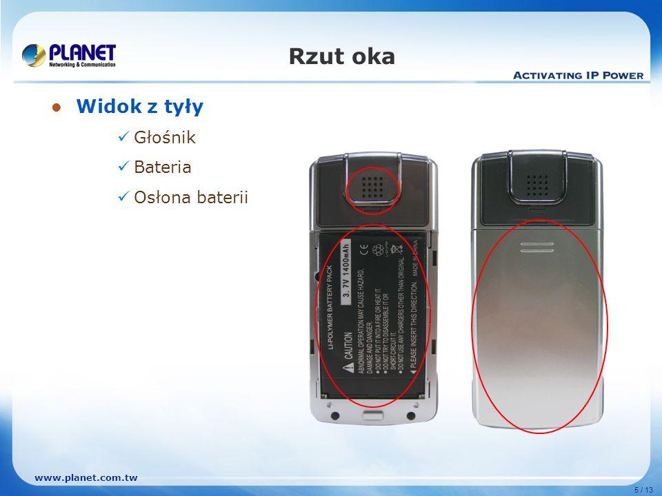 www.planet.com.tw 5 / 13 Rzut oka Widok z tyły Głośnik Bateria Osłona baterii