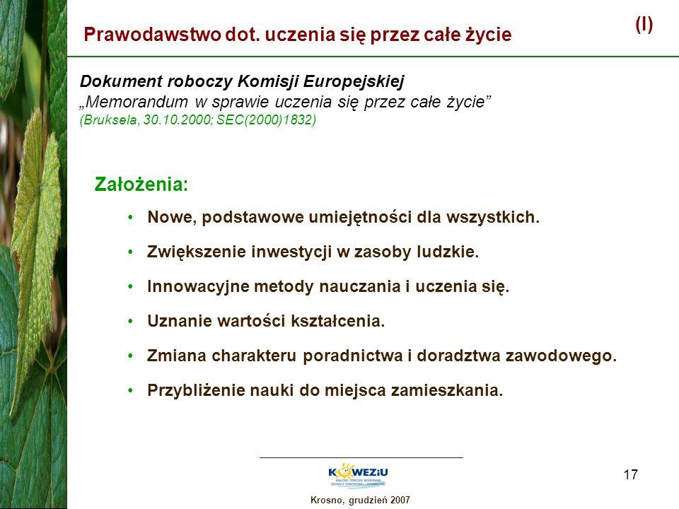 Krosno, grudzień 2007 17 (I) Prawodawstwo dot. uczenia się przez całe życie Dokument roboczy Komisji Europejskiej Memorandum w sprawie uczenia się prz