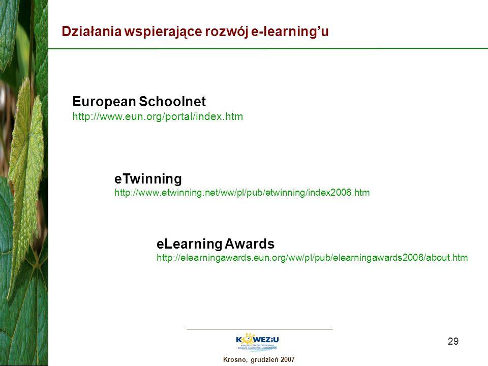 Krosno, grudzień 2007 29 Działania wspierające rozwój e-learningu European Schoolnet http://www.eun.org/portal/index.htm eTwinning http://www.etwinnin