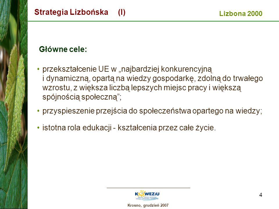 Krosno, grudzień 2007 4 Strategia Lizbońska (I) Główne cele: przekształcenie UE w najbardziej konkurencyjną i dynamiczną, opartą na wiedzy gospodarkę,