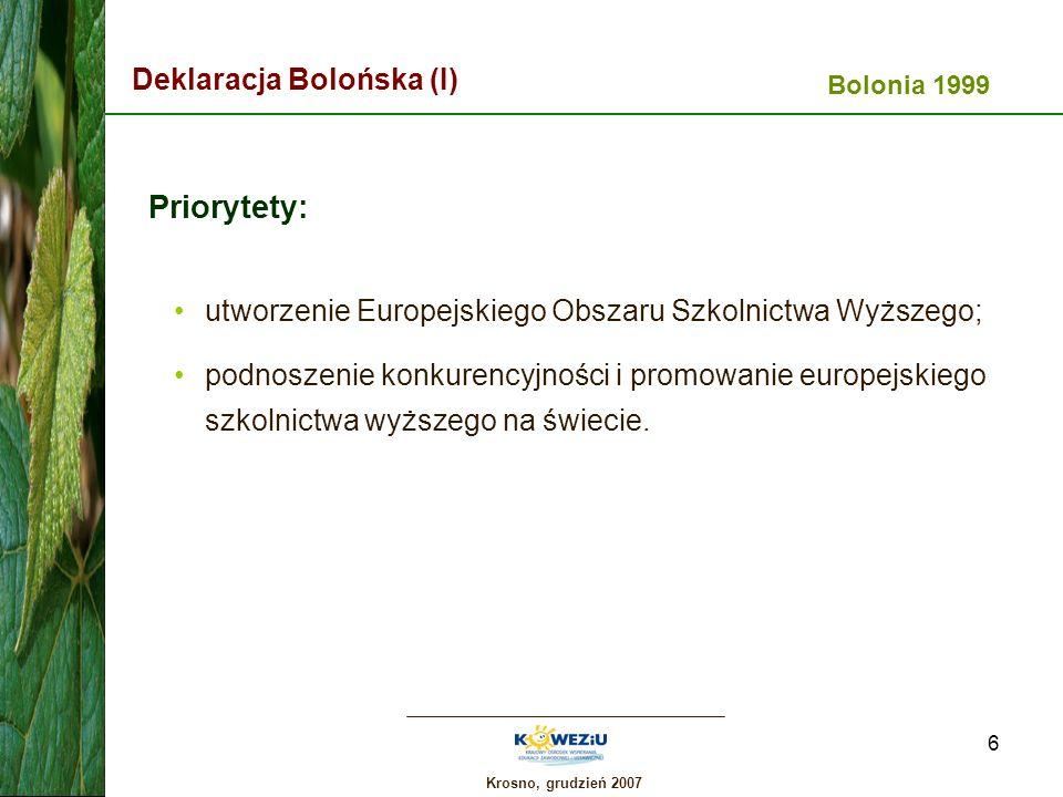 Krosno, grudzień 2007 7 Deklaracja Bolońska (II) przyjęcie systemu czytelnych i porównywalnych tytułów/stopni; przyjęcie systemu opartego na dwóch głównych cyklach kształcenia (+ studia doktoranckie); upowszechnienie systemu punktowego; promowanie mobilności studentów i kadry uczelnianej; propagowanie współpracy europejskiej w zakresie zapewniania jakości.