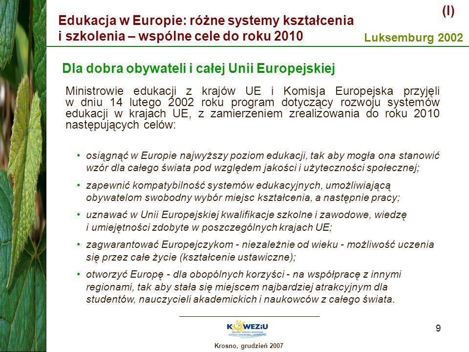 Krosno, grudzień 2007 10 Edukacja w Europie: różne systemy kształcenia i szkolenia – wspólne cele do roku 2010 (II) Różnorodność i współpraca w dziedzinie edukacji Art.