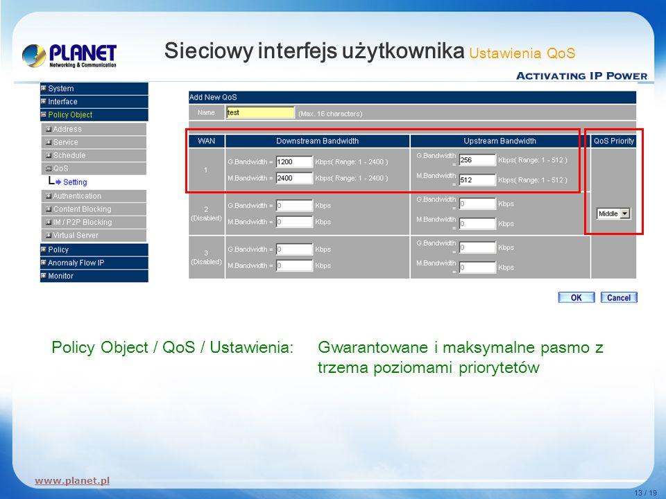 www.planet.pl 13 / 19 Sieciowy interfejs użytkownika Ustawienia QoS Policy Object / QoS / Ustawienia:Gwarantowane i maksymalne pasmo z trzema poziomam