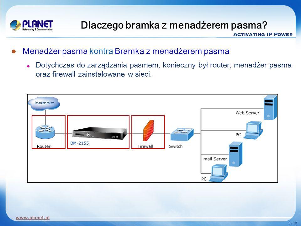www.planet.pl 3 / 19 Dlaczego bramka z menadżerem pasma? Menadżer pasma kontra Bramka z menadżerem pasma Dotychczas do zarządzania pasmem, konieczny b