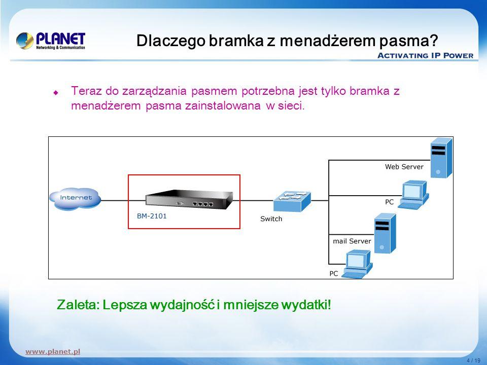 www.planet.pl 4 / 19 Dlaczego bramka z menadżerem pasma? Teraz do zarządzania pasmem potrzebna jest tylko bramka z menadżerem pasma zainstalowana w si
