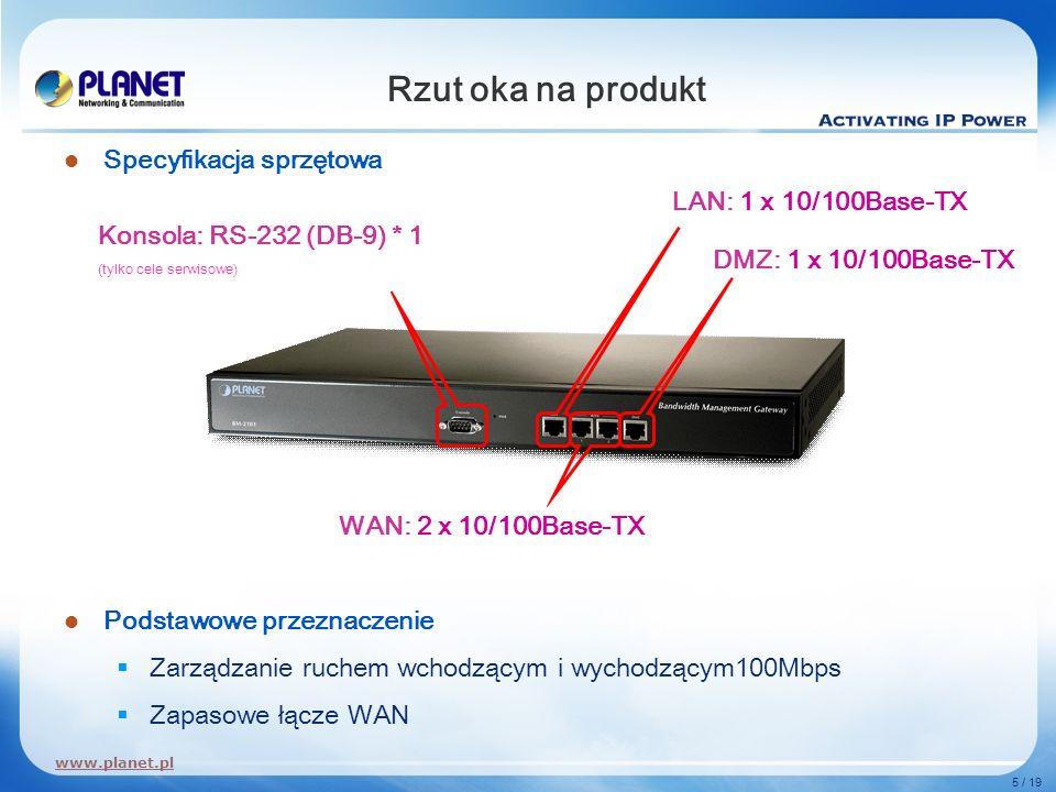 www.planet.pl 5 / 19 Rzut oka na produkt Specyfikacja sprzętowa Podstawowe przeznaczenie Zarządzanie ruchem wchodzącym i wychodzącym100Mbps Zapasowe ł