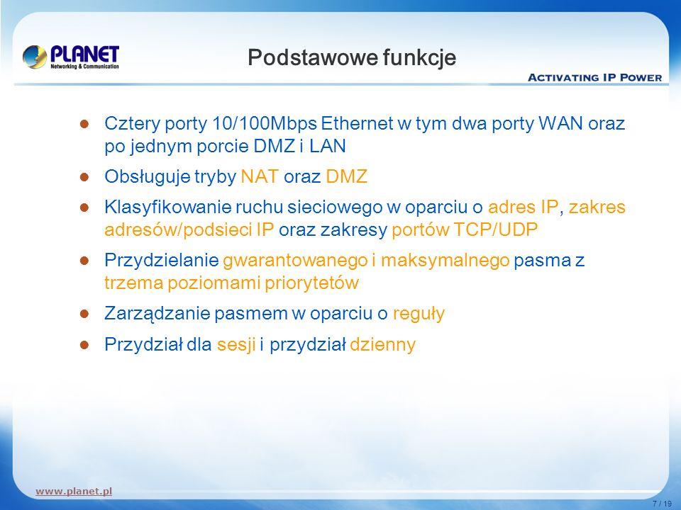 www.planet.pl 7 / 19 Podstawowe funkcje Cztery porty 10/100Mbps Ethernet w tym dwa porty WAN oraz po jednym porcie DMZ i LAN Obsługuje tryby NAT oraz