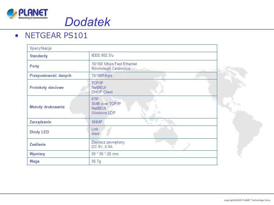 Dodatek NETGEAR PS101 56.7g Waga 90 * 56 * 26 mm Wymiary Zasilacz zewnętrzny DC 9V, 0.5A Zasilanie Link Alert Diody LED SNMP Zarządzanie PTP SMB over