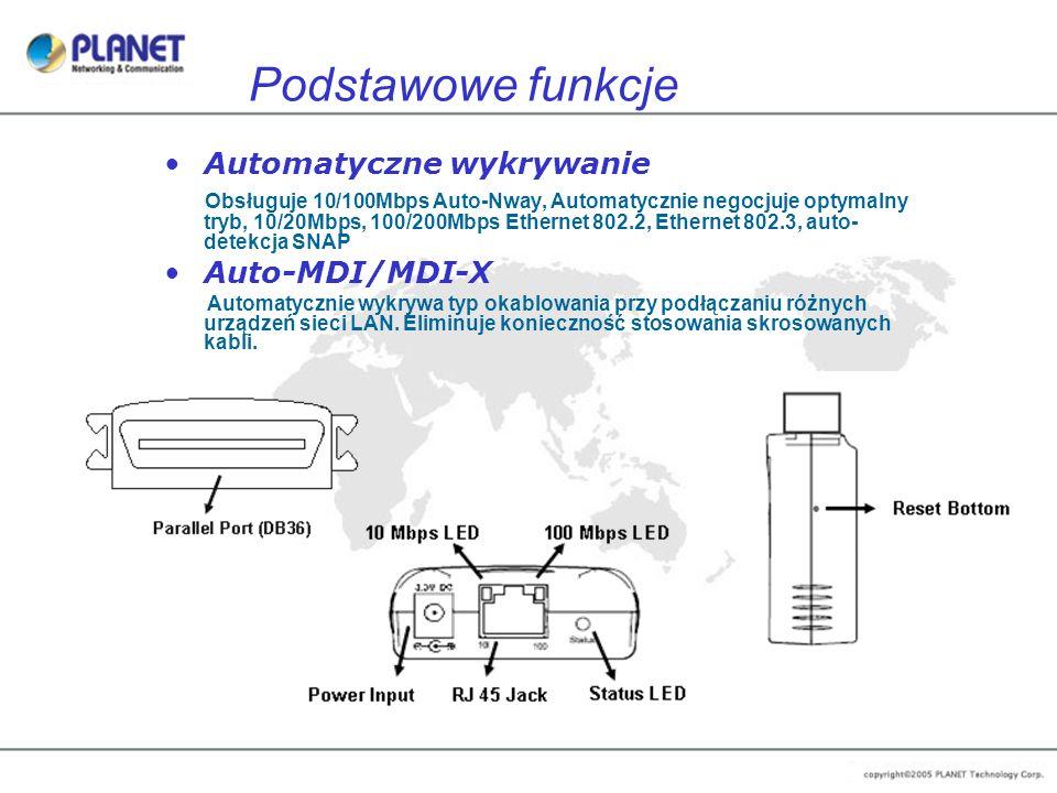 Automatyczne wykrywanie Obsługuje 10/100Mbps Auto-Nway, Automatycznie negocjuje optymalny tryb, 10/20Mbps, 100/200Mbps Ethernet 802.2, Ethernet 802.3,
