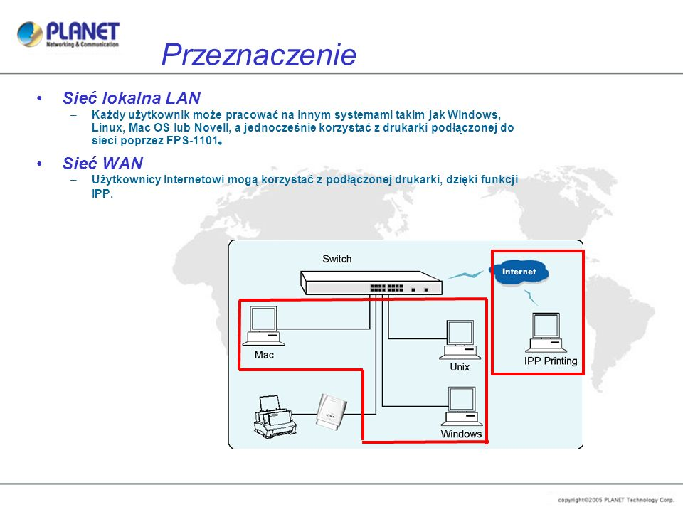 Przeznaczenie Sieć lokalna LAN –Każdy użytkownik może pracować na innym systemami takim jak Windows, Linux, Mac OS lub Novell, a jednocześnie korzysta