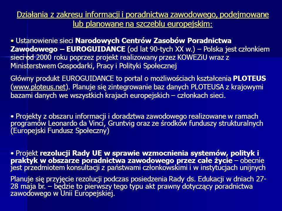 Działania z zakresu informacji i poradnictwa zawodowego, podejmowane lub planowane na szczeblu europejskim : Ustanowienie sieci Narodowych Centrów Zasobów Poradnictwa Zawodowego – EUROGUIDANCE (od lat 90-tych XX w.) – Polska jest członkiem sieci od 2000 roku poprzez projekt realizowany przez KOWEZiU wraz z Ministerstwem Gospodarki, Pracy i Polityki Społecznej Główny produkt EUROGUIDANCE to portal o możliwościach kształcenia PLOTEUS (www.ploteus.net).