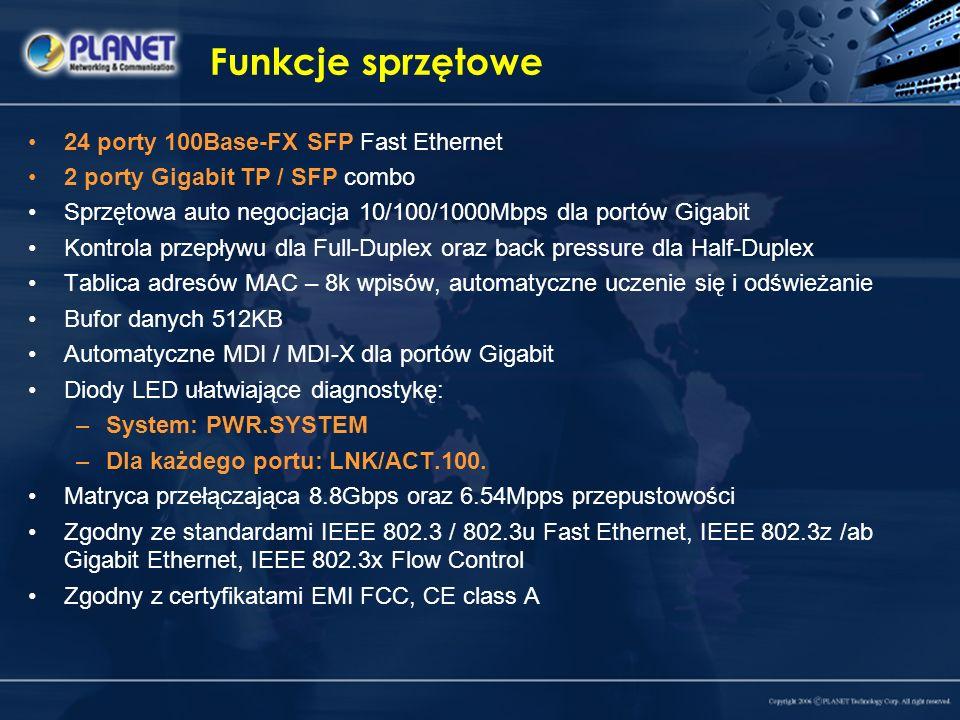 Funkcje sprzętowe 24 porty 100Base-FX SFP Fast Ethernet 2 porty Gigabit TP / SFP combo Sprzętowa auto negocjacja 10/100/1000Mbps dla portów Gigabit Ko