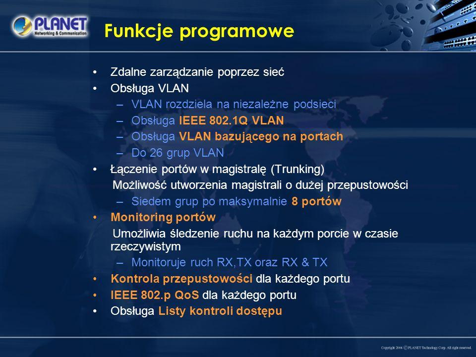 Funkcje programowe Zdalne zarządzanie poprzez sieć Obsługa VLAN –VLAN rozdziela na niezależne podsieci –Obsługa IEEE 802.1Q VLAN –Obsługa VLAN bazując