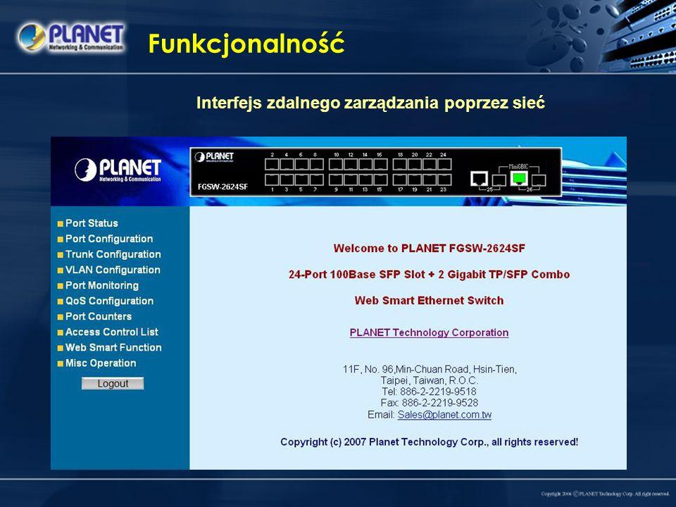 Funkcjonalność Interfejs zdalnego zarządzania poprzez sieć