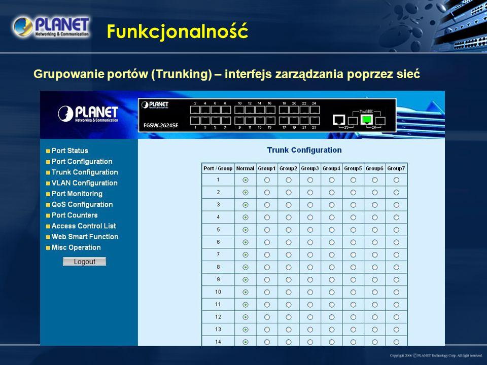Funkcjonalność Grupowanie portów (Trunking) – interfejs zarządzania poprzez sieć