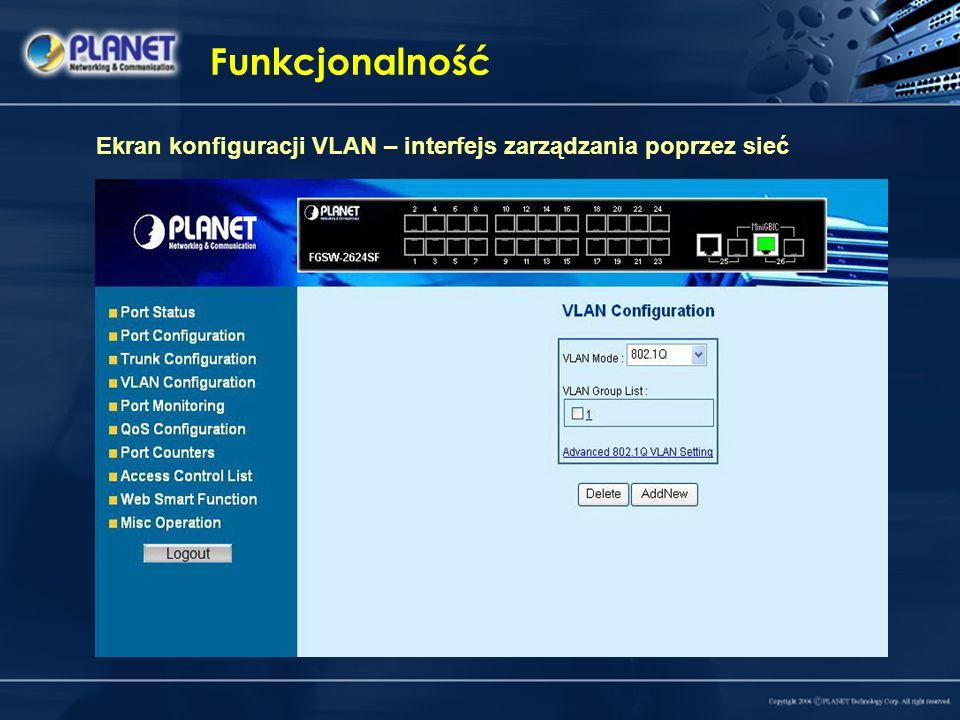 Funkcjonalność Ekran konfiguracji VLAN – interfejs zarządzania poprzez sieć