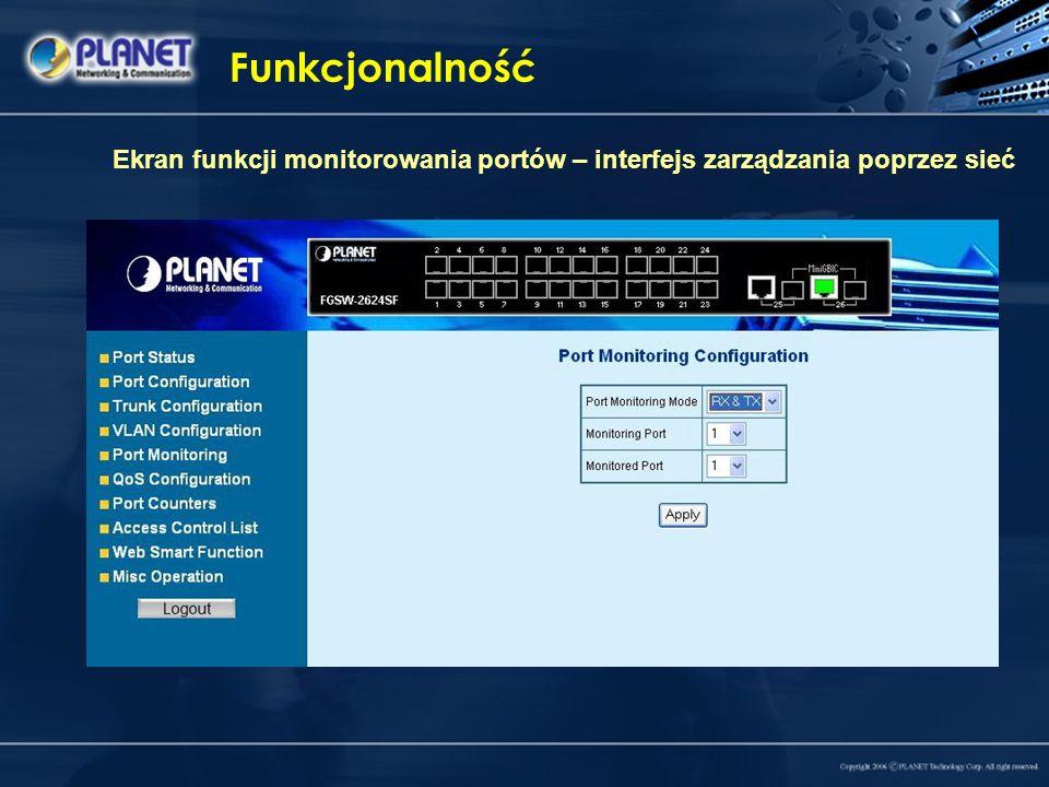 Funkcjonalność Ekran funkcji monitorowania portów – interfejs zarządzania poprzez sieć