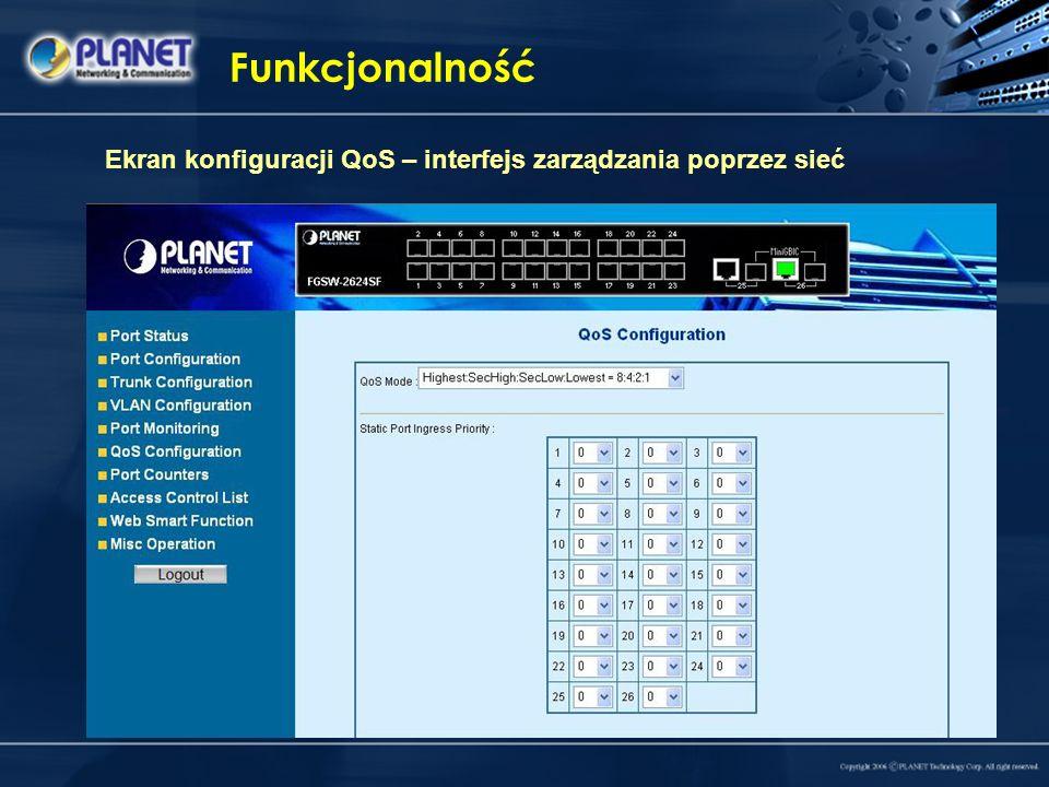 Funkcjonalność Ekran konfiguracji QoS – interfejs zarządzania poprzez sieć