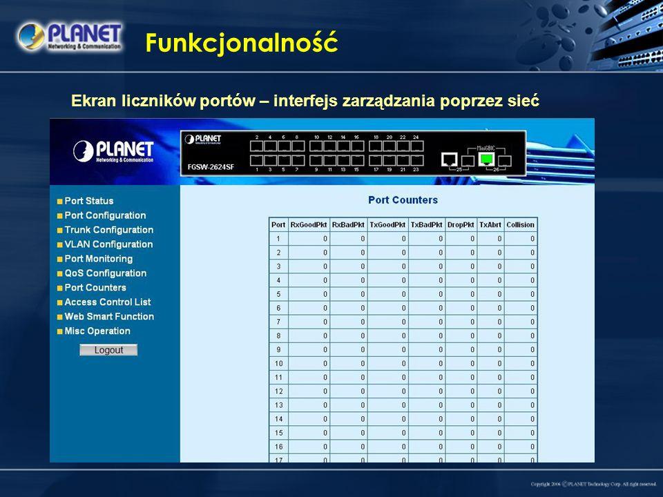 Funkcjonalność Ekran liczników portów – interfejs zarządzania poprzez sieć