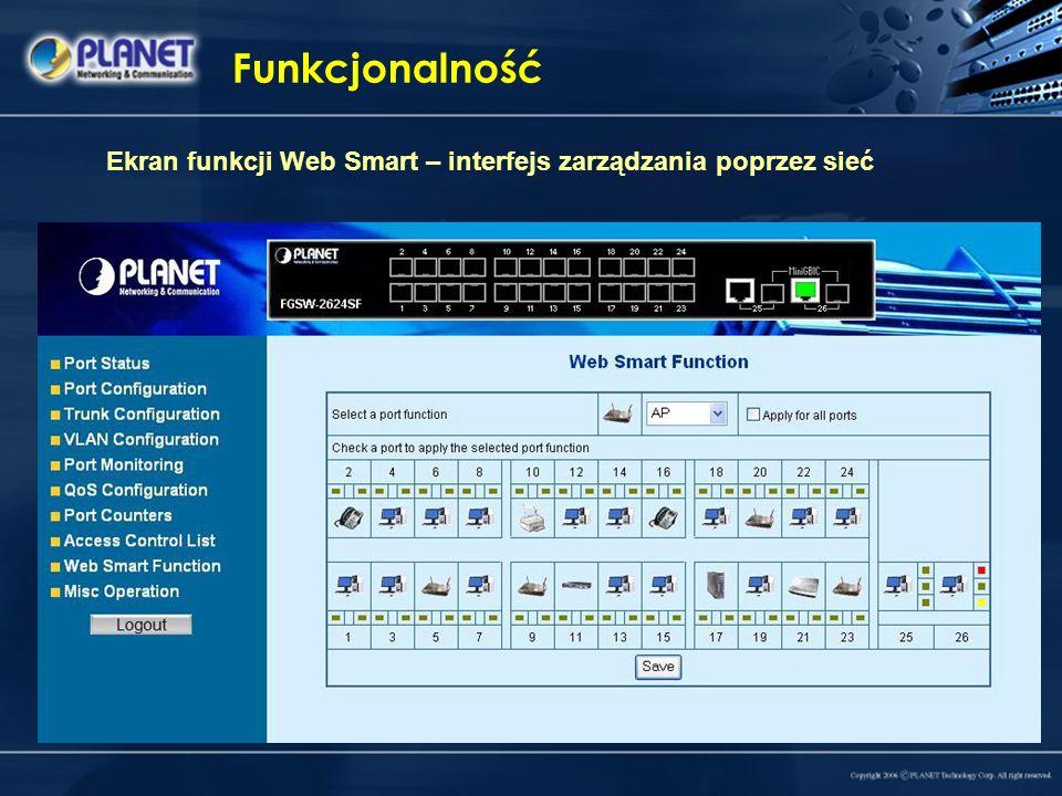 Funkcjonalność Ekran funkcji Web Smart – interfejs zarządzania poprzez sieć