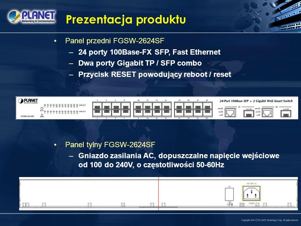 Prezentacja produktu Panel przedni FGSW-2624SF –24 porty 100Base-FX SFP, Fast Ethernet –Dwa porty Gigabit TP / SFP combo –Przycisk RESET powodujący re