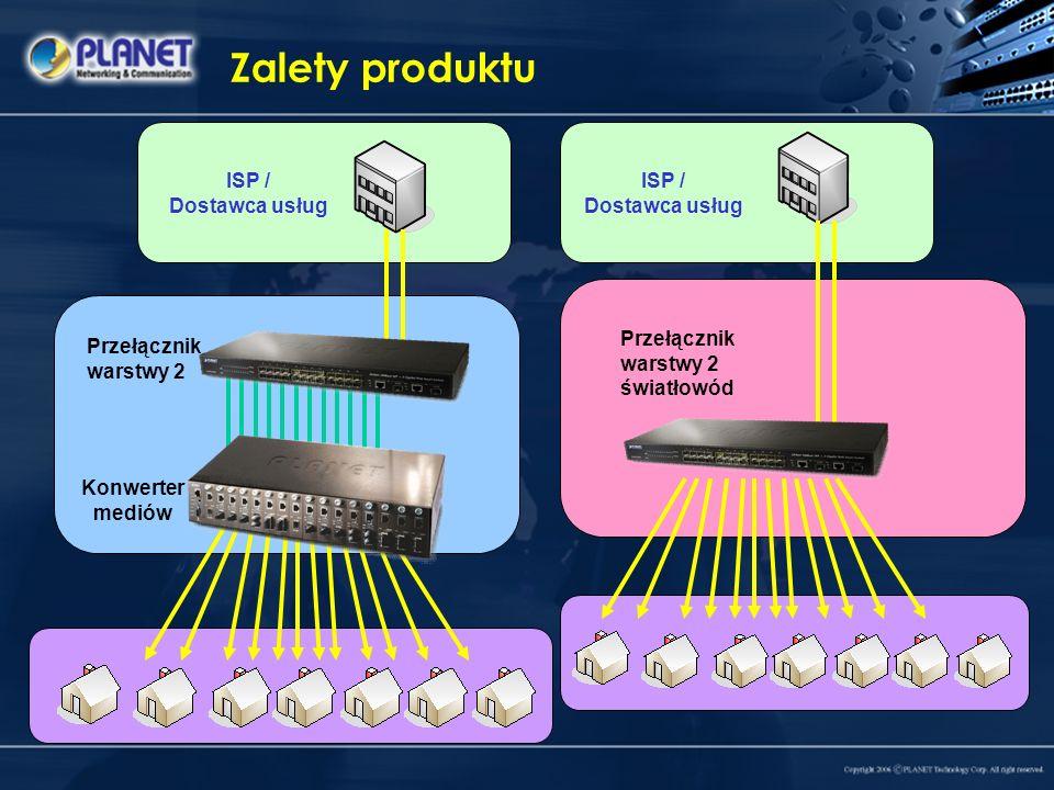 ISP / Dostawca usług Zalety produktu Przełącznik warstwy 2 Konwerter mediów Przełącznik warstwy 2 światłowód