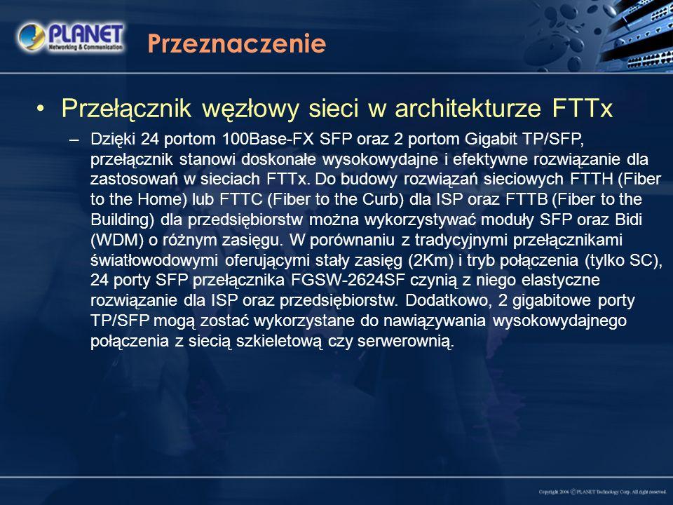 Przeznaczenie Przełącznik węzłowy sieci w architekturze FTTx –Dzięki 24 portom 100Base-FX SFP oraz 2 portom Gigabit TP/SFP, przełącznik stanowi doskon