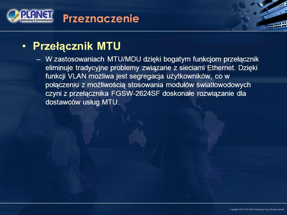 Przeznaczenie Przełącznik MTU –W zastosowaniach MTU/MDU dzięki bogatym funkcjom przełącznik eliminuje tradycyjne problemy związane z sieciami Ethernet