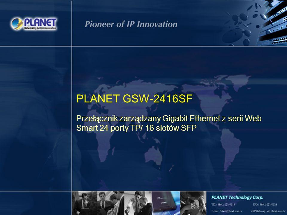 1 / 19 PLANET GSW-2416SF Przełącznik zarządzany Gigabit Ethernet z serii Web Smart 24 porty TP/ 16 slotów SFP