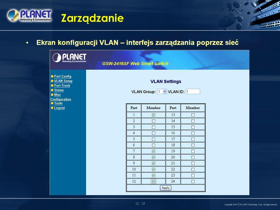 10 / 19 Zarządzanie Ekran konfiguracji VLAN – interfejs zarządzania poprzez sieć