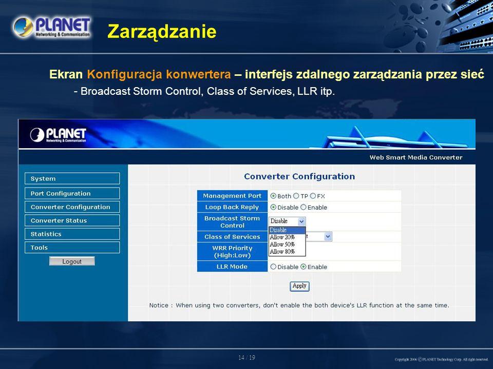 14 / 19 Zarządzanie Ekran Konfiguracja konwertera – interfejs zdalnego zarządzania przez sieć - Broadcast Storm Control, Class of Services, LLR itp.