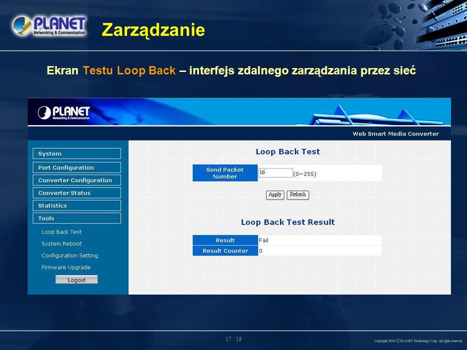 17 / 19 Zarządzanie Ekran Testu Loop Back – interfejs zdalnego zarządzania przez sieć