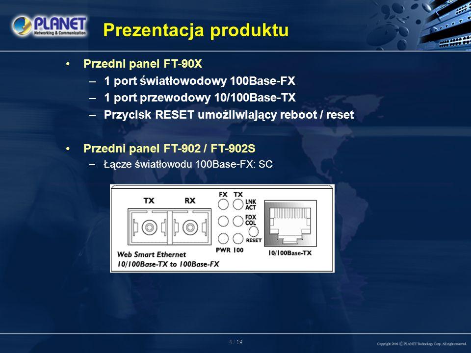 4 / 19 Przedni panel FT-90X –1 port światłowodowy 100Base-FX –1 port przewodowy 10/100Base-TX –Przycisk RESET umożliwiający reboot / reset Przedni panel FT-902 / FT-902S –Łącze światłowodu 100Base-FX: SC Prezentacja produktu