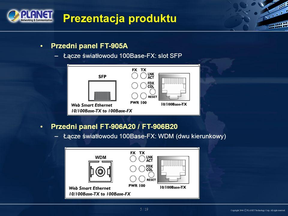 5 / 19 Przedni panel FT-905A –Łącze światłowodu 100Base-FX: slot SFP Przedni panel FT-906A20 / FT-906B20 –Łącze światłowodu 100Base-FX: WDM (dwu kierunkowy) Prezentacja produktu