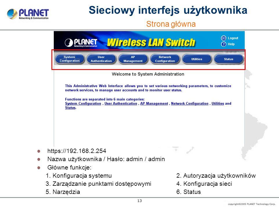 13 https://192.168.2.254 Nazwa użytkownika / Hasło: admin / admin Główne funkcje: 1. Konfiguracja systemu 2. Autoryzacja użytkowników 3. Zarządzanie p