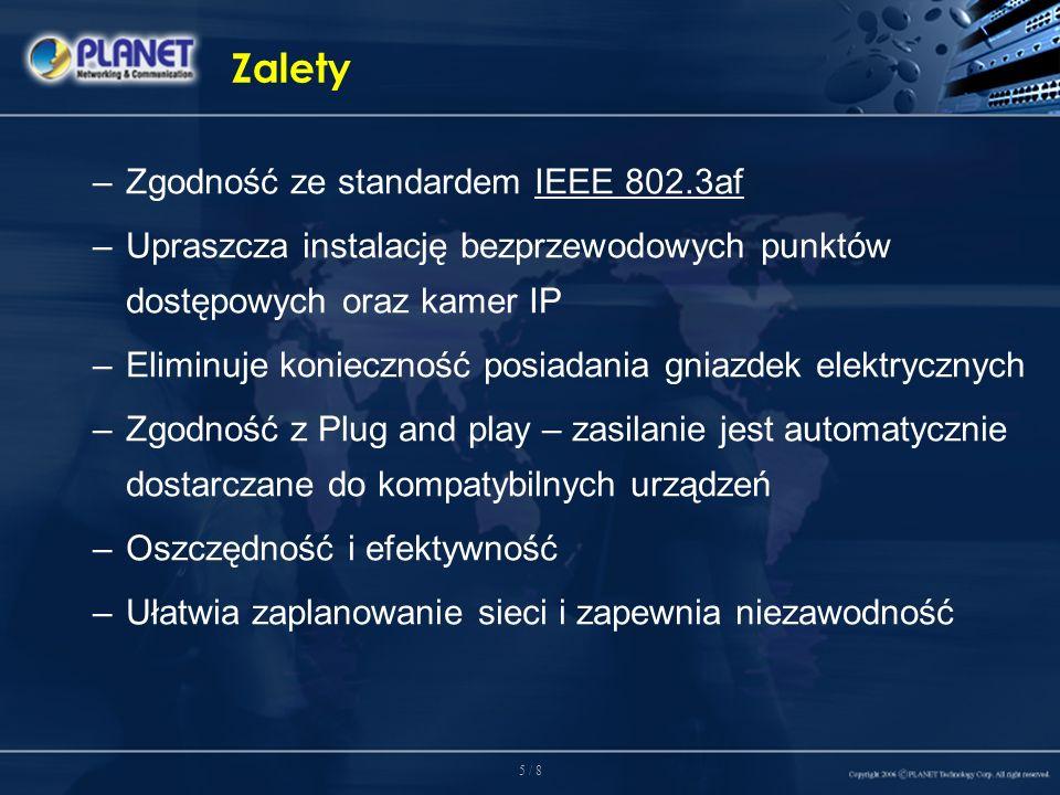 6 / 8 Przeznaczenie Zasilanie urządzeń standardu IEEE 802.3af w sieci W miejscach w których nie ma dostępu do gniazda zasilania, POE-400 pozwala w najprostszy sposób zasilić urządzenia sieci Ethernet takie jak kamera internetowa PLANET ICA-210 połączona z rozdzielaczem POE-152S, czy bezprzewodowy punkt dostępowy WAP-4060OE zainstalowany w biurze.