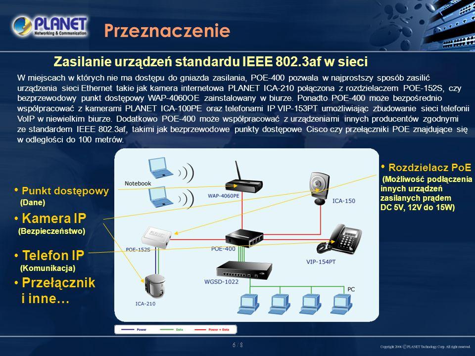 7 / 8 Rynek docelowy Sektor SOHO oraz zastosowania domwe Dzięki niezawodności oraz zgodności ze standardem IEEE 802.3af Power over Ethernet, POE-400 jest idealnym, oszczędnym rozwiązaniem umożliwiającym zbudowanie struktury sieciowej z urządzeniami IEEE 802.3af w małym biurze lub domu.