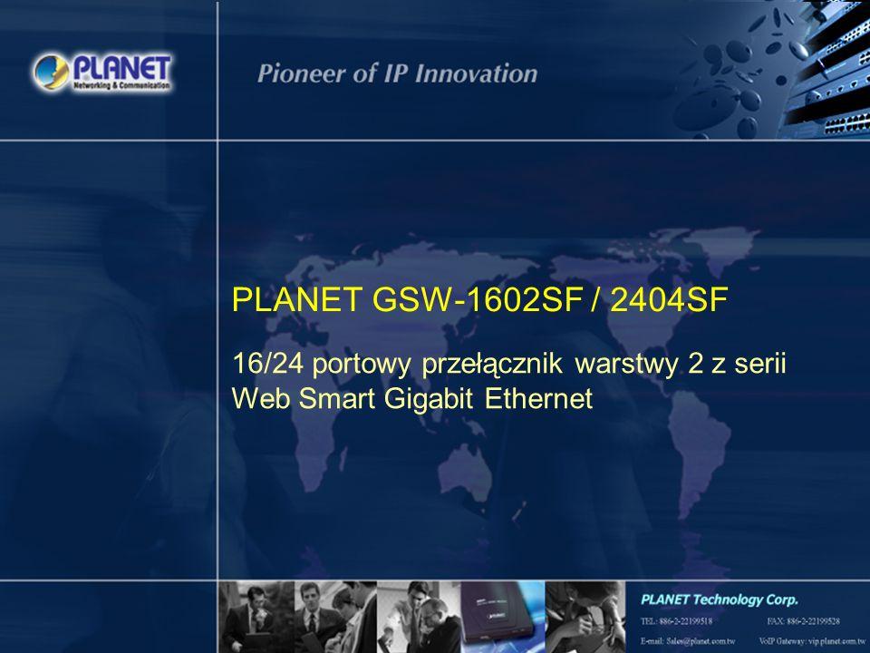 1 / 19 PLANET GSW-1602SF / 2404SF 16/24 portowy przełącznik warstwy 2 z serii Web Smart Gigabit Ethernet