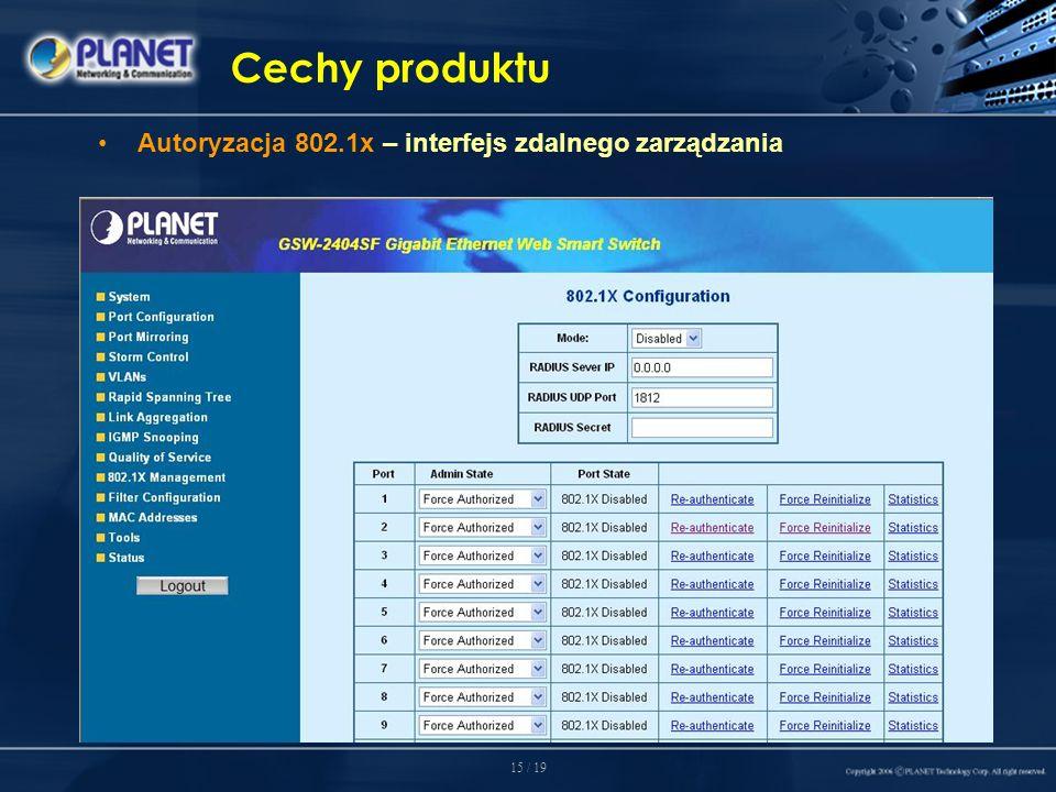 15 / 19 Cechy produktu Autoryzacja 802.1x – interfejs zdalnego zarządzania