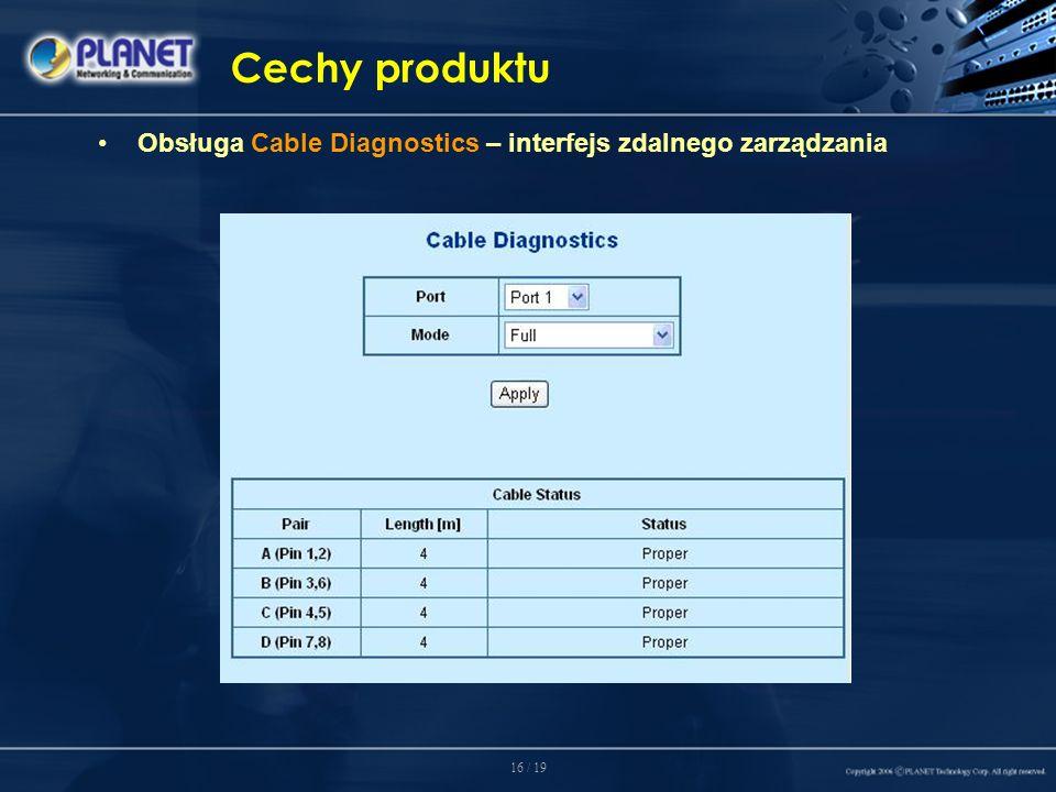 16 / 19 Cechy produktu Obsługa Cable Diagnostics – interfejs zdalnego zarządzania