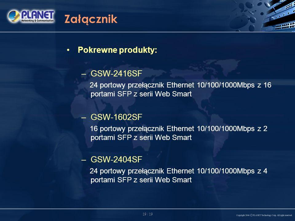19 / 19 Załącznik Pokrewne produkty: –GSW-2416SF 24 portowy przełącznik Ethernet 10/100/1000Mbps z 16 portami SFP z serii Web Smart –GSW-1602SF 16 portowy przełącznik Ethernet 10/100/1000Mbps z 2 portami SFP z serii Web Smart –GSW-2404SF 24 portowy przełącznik Ethernet 10/100/1000Mbps z 4 portami SFP z serii Web Smart