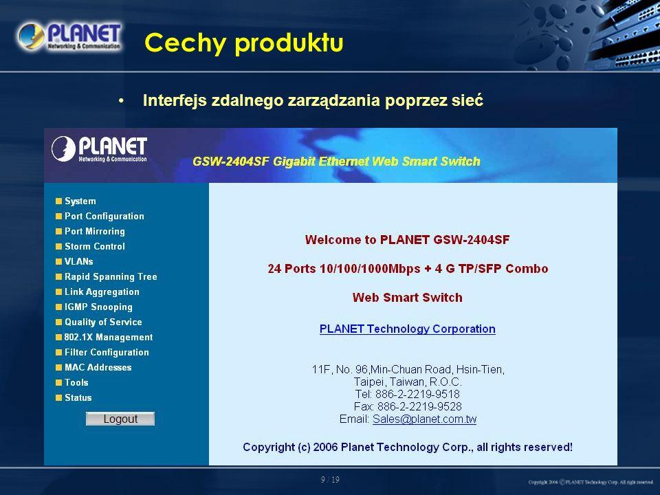 9 / 19 Cechy produktu Interfejs zdalnego zarządzania poprzez sieć