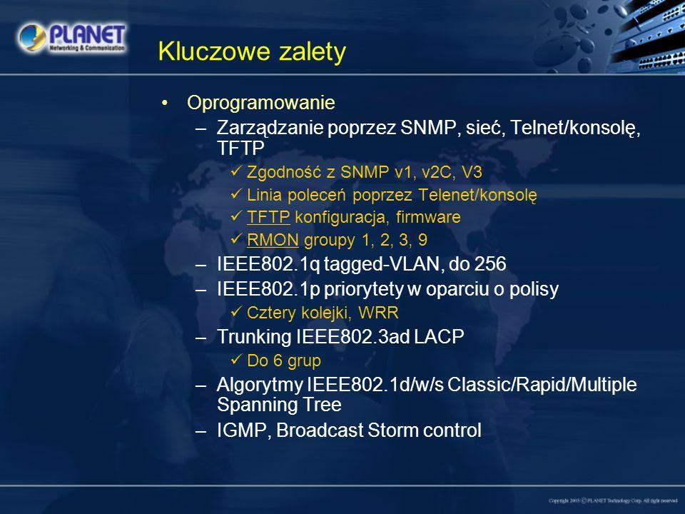 Kluczowe zalety Oprogramowanie –Zarządzanie poprzez SNMP, sieć, Telnet/konsolę, TFTP Zgodność z SNMP v1, v2C, V3 Linia poleceń poprzez Telenet/konsolę