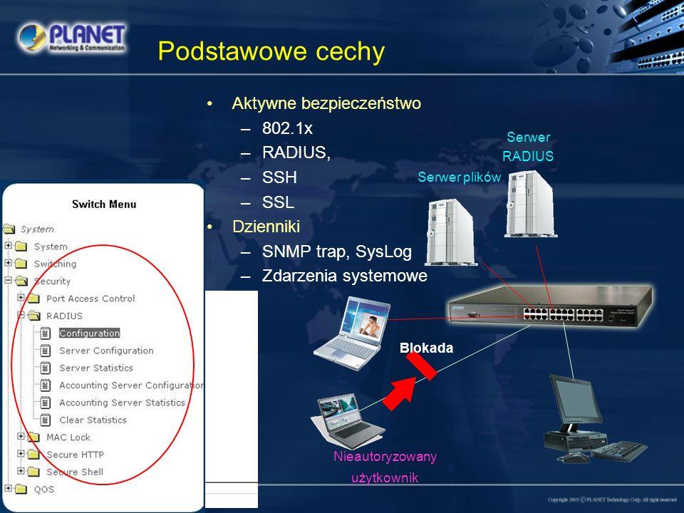 Podstawowe cechy Aktywne bezpieczeństwo –802.1x –RADIUS, –SSH –SSL Dzienniki –SNMP trap, SysLog –Zdarzenia systemowe Serwer RADIUS Serwer plików Bloka