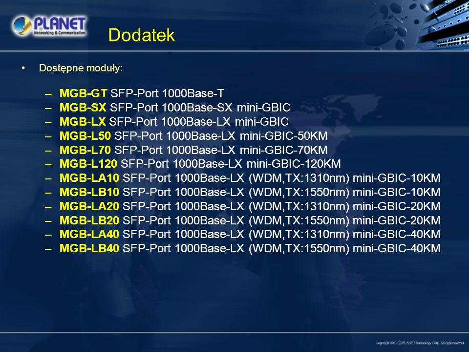 Dodatek Dostępne moduły: –MGB-GT SFP-Port 1000Base-T –MGB-SX SFP-Port 1000Base-SX mini-GBIC –MGB-LX SFP-Port 1000Base-LX mini-GBIC –MGB-L50 SFP-Port 1