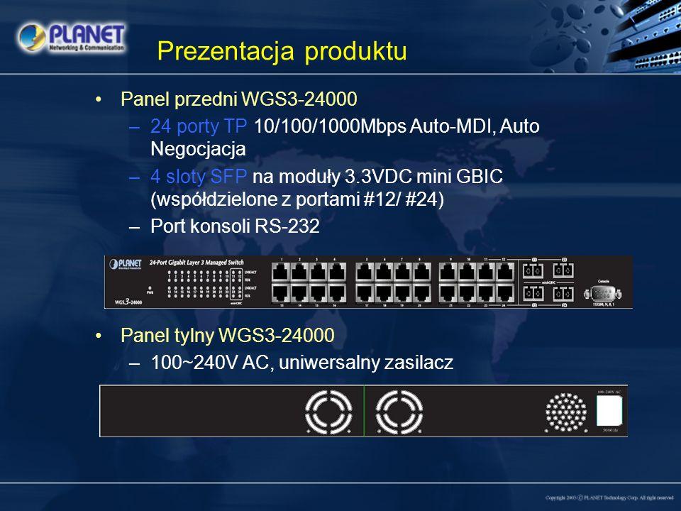 Prezentacja produktu Panel przedni WGS3-24000 –24 porty TP 10/100/1000Mbps Auto-MDI, Auto Negocjacja –4 sloty SFP na moduły 3.3VDC mini GBIC (współdzi