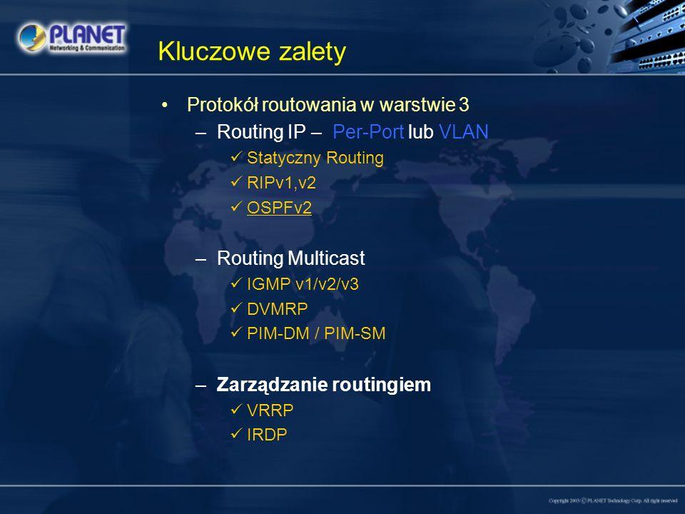 Kluczowe zalety Protokół routowania w warstwie 3 –Routing IP – Per-Port lub VLAN Statyczny Routing RIPv1,v2 OSPFv2 –Routing Multicast IGMP v1/v2/v3 DV