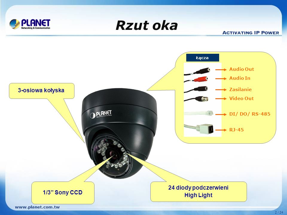 www.planet.com.tw 13 / 24 Porównanie Model Funkcje PLANET ICA-530ACTi ACM-3211 Typ kameryWewnętrzna Sensor1/3 Sony CCD Rozdzielczość pozioma420 TVL Oświetlenie15 metrów, 24 diody Kompresja obrazuMPEG-4 / M-JPEGMPEG-4 Maksymalna rozdzielczość640*480 (30fps)720 * 756 (30fps) Obiektyw6mm / F2.04.3mm / F2.0 Detekcja ruchuTak (4 okna)Tak (3 okna) Dźwięk2-kierunkowy 3GPPV-- Multi-ProfileV-- Filter IR-cutV-- RS-485V-- Video OutV--
