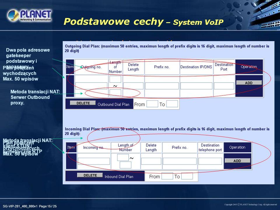 SG-VIP-281_480_880v1 Page 15 / 25 Podstawowe cechy – System VoIP Obsługa dwóch protokołów –H.323/SIP H.323v2v3v4 SIP 2.0 (RFC3261) Duża elastyczność O