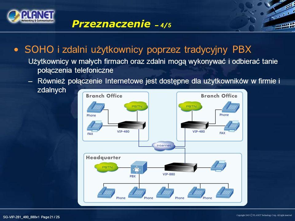 SG-VIP-281_480_880v1 Page 21 / 25 Przeznaczenie – 4 / 5 SOHO i zdalni użytkownicy poprzez tradycyjny PBX Użytkownicy w małych firmach oraz zdalni mogą